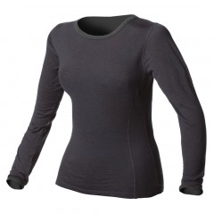 100% Pure Merino Wool Medium-Weight Crew Neck Long Underwear Top for Women