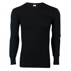 Black - Indera Mills Color Dyed Cotton Polyester Blend Waffle Knit Mens Thermal Top for Men