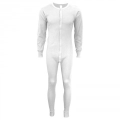 Indera Mills 100% Cotton White Union Suit Long Johns For Men