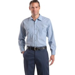 CornerStone Long Sleeve Striped Industrial Work Shirt for Men
