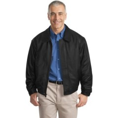 Port Authority Leather Bomber Jacket for Men