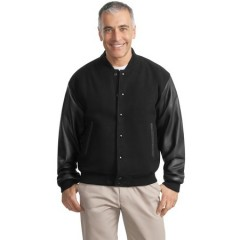 Port Authority Wool and Leather Letterman Jacket for Men