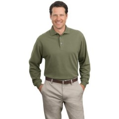 Port Authority Long Sleeve Pique Knit Polo for Men