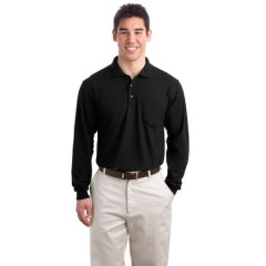 Port Authority Long Sleeve Silk Touch Polo with Pocket for Men