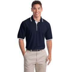 Port Authority Silk Touch Polo with Stripe Trim for Men