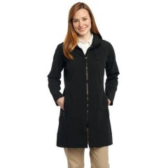 Port Authority Long Textured Hooded Soft Shell Jacket for Women
