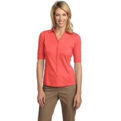 Port Authority Silk Touch Interlock Button-Front Polo for Women