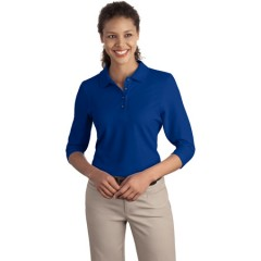 Port Authority Silk Touch 3/4-Sleeve Polo for Women