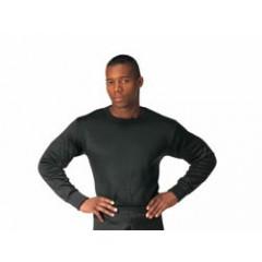 Black - Heavy Weight Fleece Polypropylene Thermal Underwear Crew Neck Top for Adult