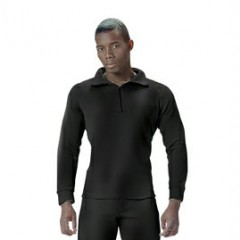 Black - Heavy Weight Fleece Polypropylene Thermal Underwear Turtle Neck Top