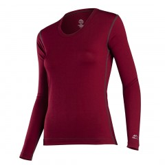Cranberry - Coldpruf Premium Performance Polyester / Spandex Long Underwear Top for Women