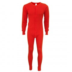 Indera Mills 100% Cotton Red Union Suit Long Johns For Men