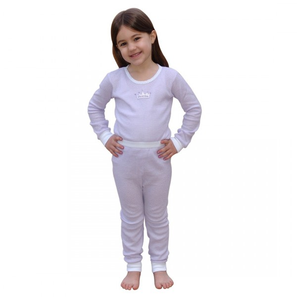 Indera Mills Girls Thermal Underwear Set - Waffle knit cotton ...