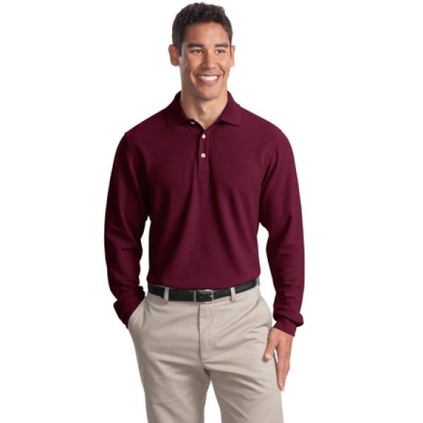 Port Authority Long Sleeve EZCotton Pique Polo for Men