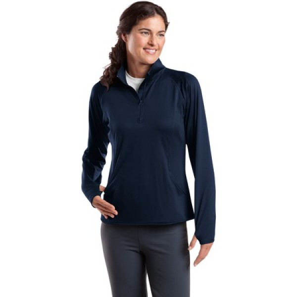 SportTek Ladies Sport Wick Stretch 1//2 Zip Pullover LST850